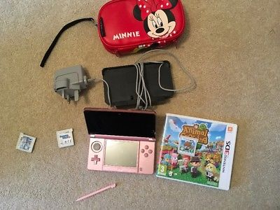 Nintendo 3DS Pearl Pink Handheld System with charger and games
