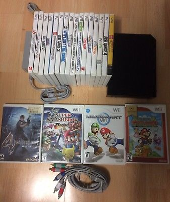 Black Nintendo Wii US (NTSC) Bundle Mario Kart, super smash brawl + More Games!