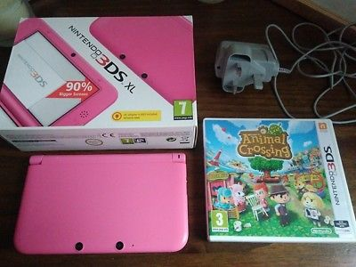 Nintendo 3DS XL Pink+Charger+Animal Crossing New Leaf