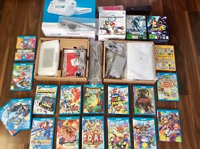 Nintendo Wii U  8GB White games console bundle. 20 brilliant games +accessories.