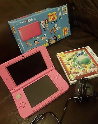 nintendo 3ds xl pink with yoshi's new island game