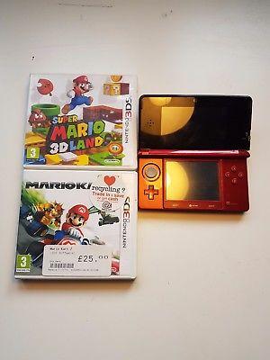 Nintendo 3DS red console, mariokart 7, suoermario 3D land